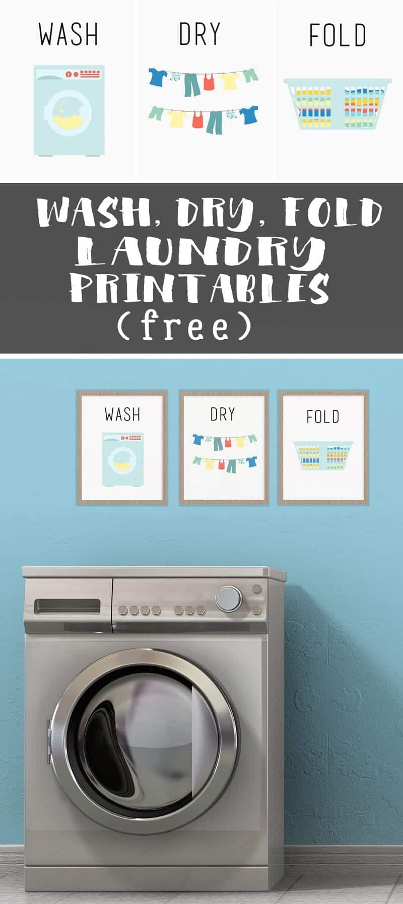 Help jump-start a new laundry routine by dressing up your laundry room decor with a free printable! Put these adorable WASH DRY FOLD printables in a frame and hang them in the laundry room. #freeprintable #laundryroom