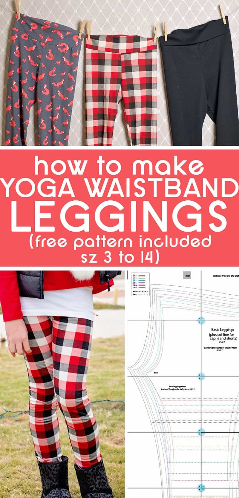 How to sew Yoga Waistband leggings with this freeYoga Waistband Legging Tutorial (includes link to a free legging pattern in girl's sizes 3 to 14)