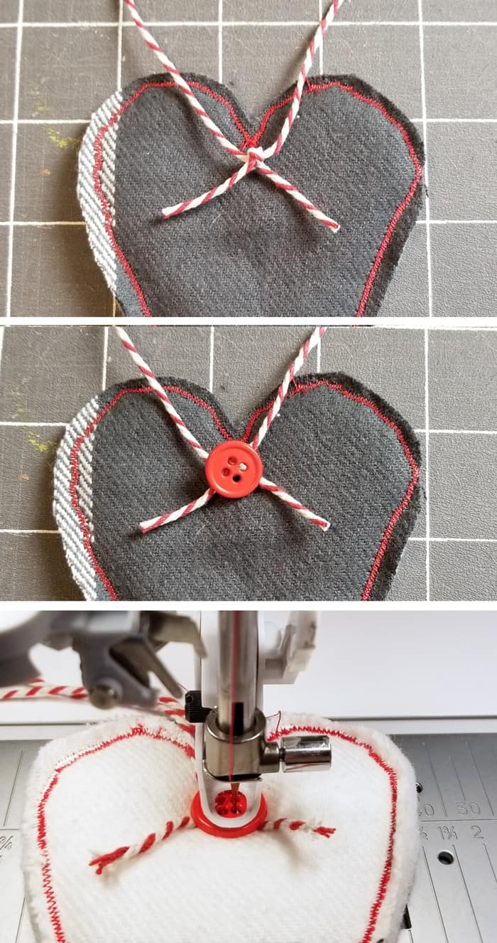 adding string to for heart garland tutorial