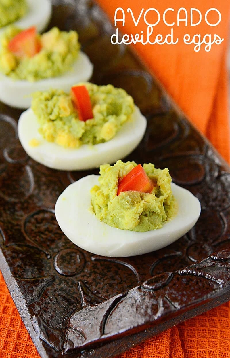 avocado deviled eggs (easy low carb snack ideas) - scattered