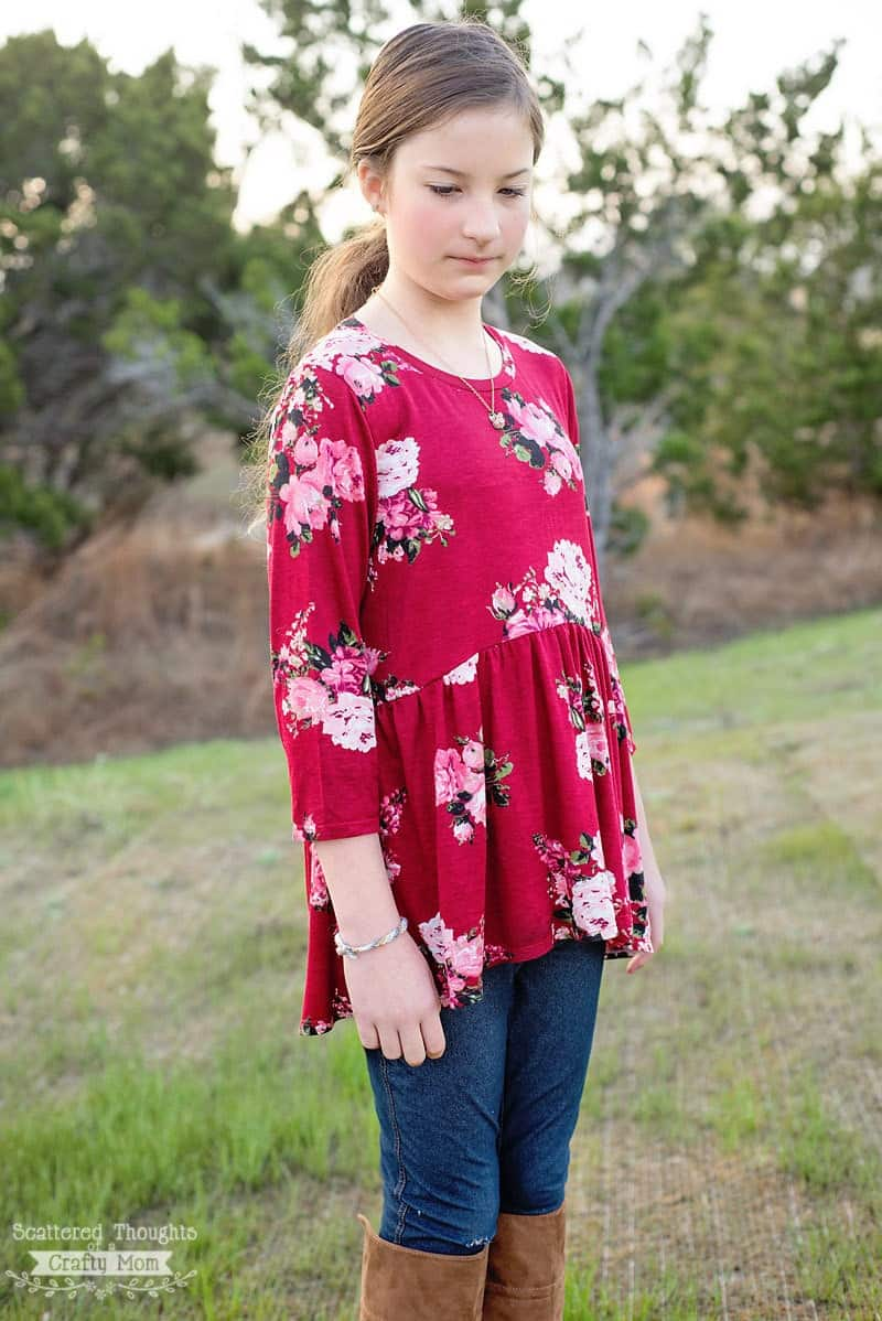 How to sew a high low top: High-Low Ruffle Tunic (free pattern, girls size 3 to 14)