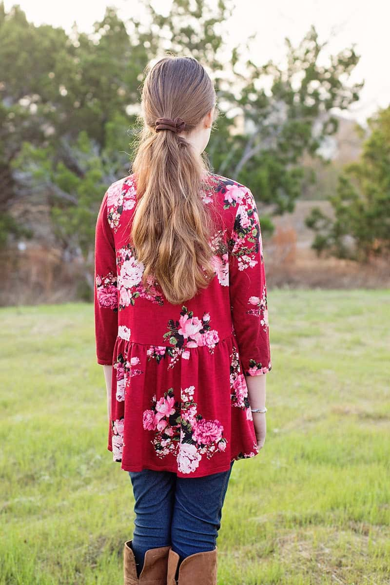 How to sew a high low top: High Low Ruffle Tunic Top (free pattern, girls size 3 to 14)