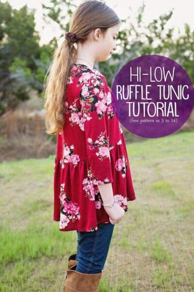 Hi Low Ruffle Tunic Tutorial (free pattern sz 3 to 14)