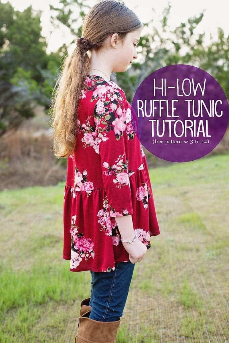 How to sew a High Low Ruffle Tunic Top (free pattern, girls size 3 to 14)