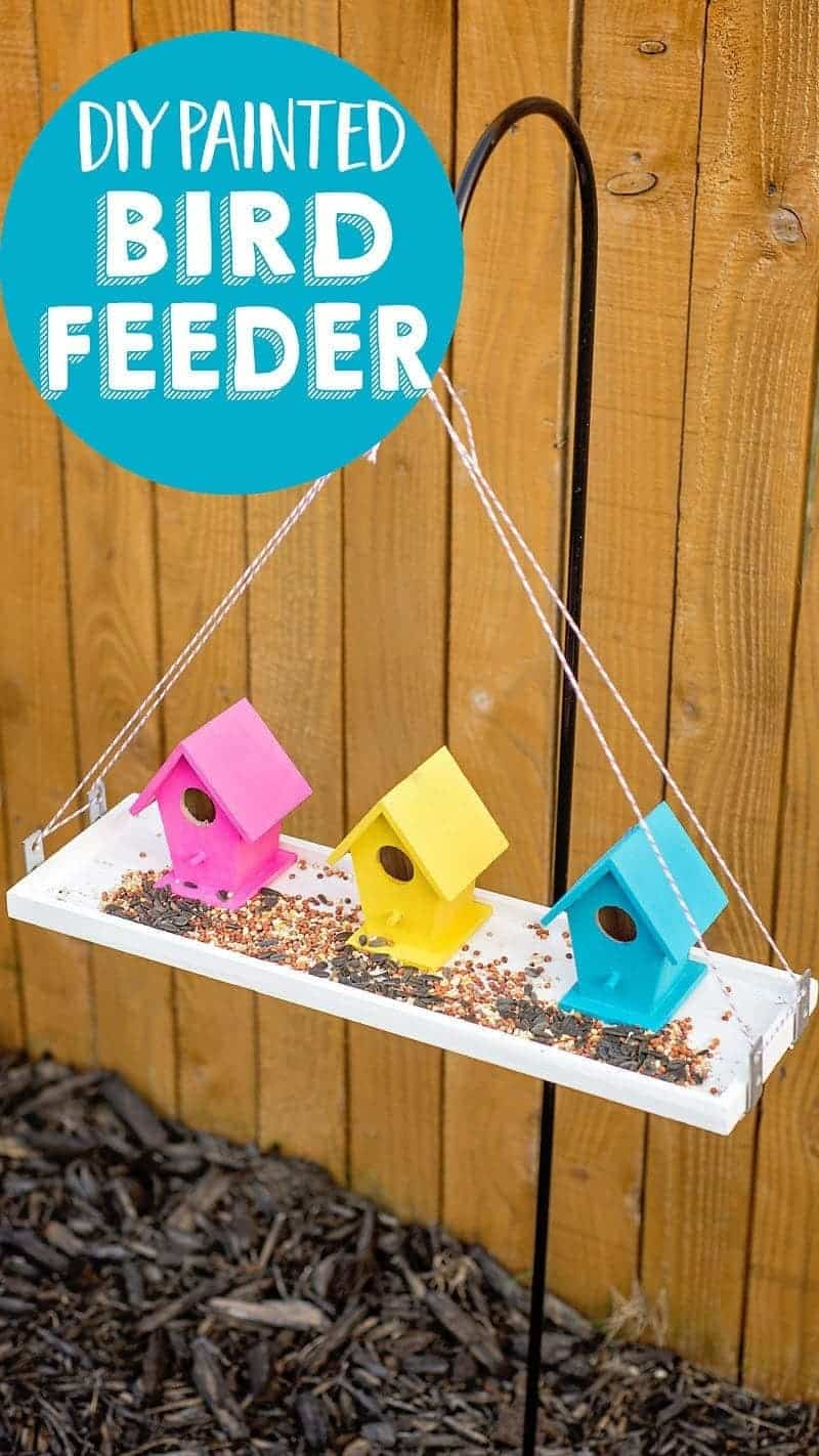 Make this colorful painted Bird Feeder for your garden! No special tools are needed - just a bit of glue, paint and supplies from the craft store.