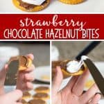 These Easy Strawberry Chocolate Hazelnut Bites are the perfect combination of Sweet and Salty.  Each little cracker is a bite of sweet and salty chocolate hazelnut perfection!