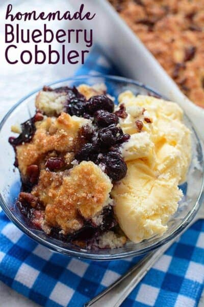 This Easy Homemade Blueberry Cobbler is a delicious summer dessert recipe that's perfect for a special occasion (or any night of the week – it's that easy!)