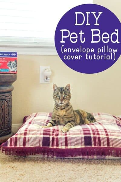 This DIY Cat Bed tutorial will show you how to easily make an envelope pillow cover that makes a perfect bed for your cat (or dog!)