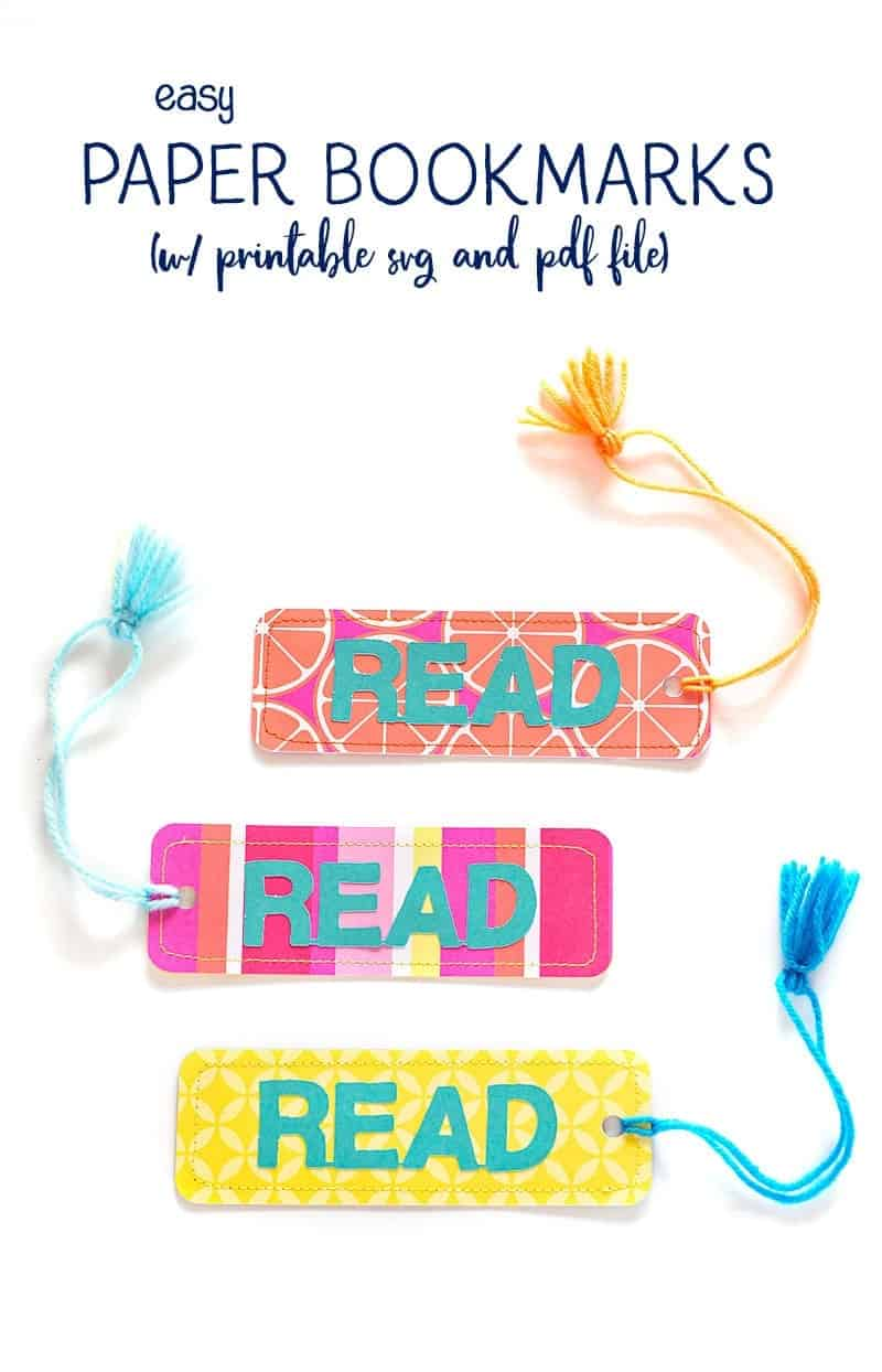Free Bookmark template (SVG and PDF), perfect for a fun tween craft, end of the year favors, parties or for your summer reading program!