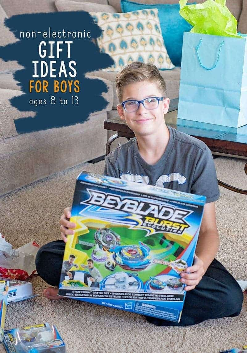 Non-Electronic Gift Ideas for Boys ages 8 to 13.