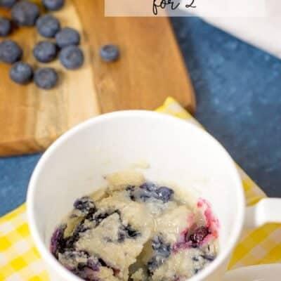 Microwave Blueberry Lemon Mug Cake for Two