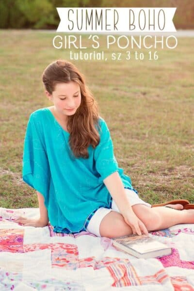 Learn how to make a poncho: This Girl's Poncho Tutorial (sizes 3 to 16) is the perfect easy sewing project for summer!