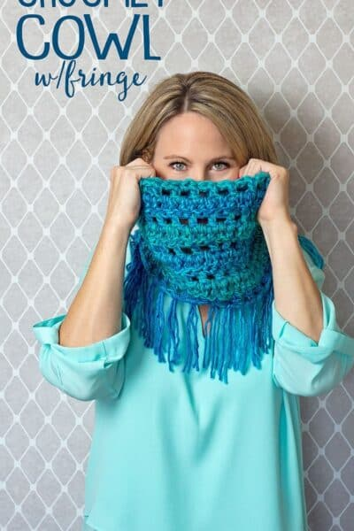 Learn how to crochet this colorful Cowl Scarf with Fringe in one evening!