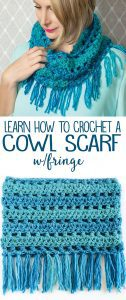 Learn how to crochet a cowl scarf with fringe!