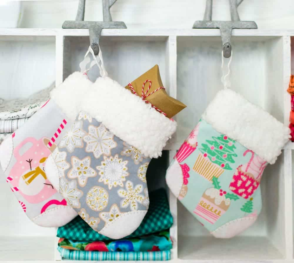 Mini Stocking Ornaments - free christmas ornament patterns, plus 37 more cute things to sew for Christmas