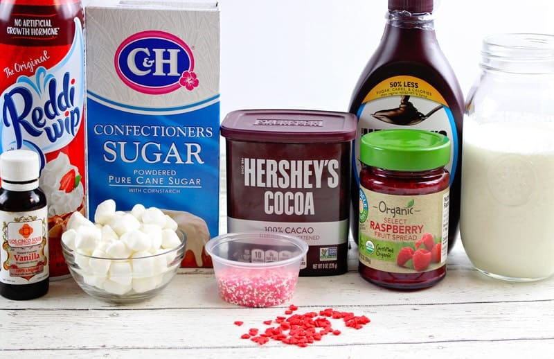 This homemade Chocolate Raspberry Hot Cocoa is sweet, delicious and festively decorated for Valentine's Day, you'll love warming up with cup after cup.