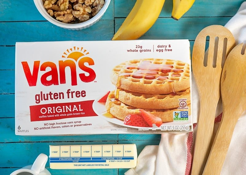 gluten free waffles with caramel banana sauce