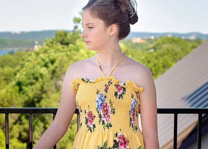 make a sundress with pre shirred fabric