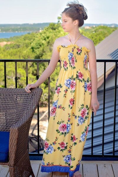 Make a No Pattern Sundress with Pre Shirred Fabric in about 20 Minutes!