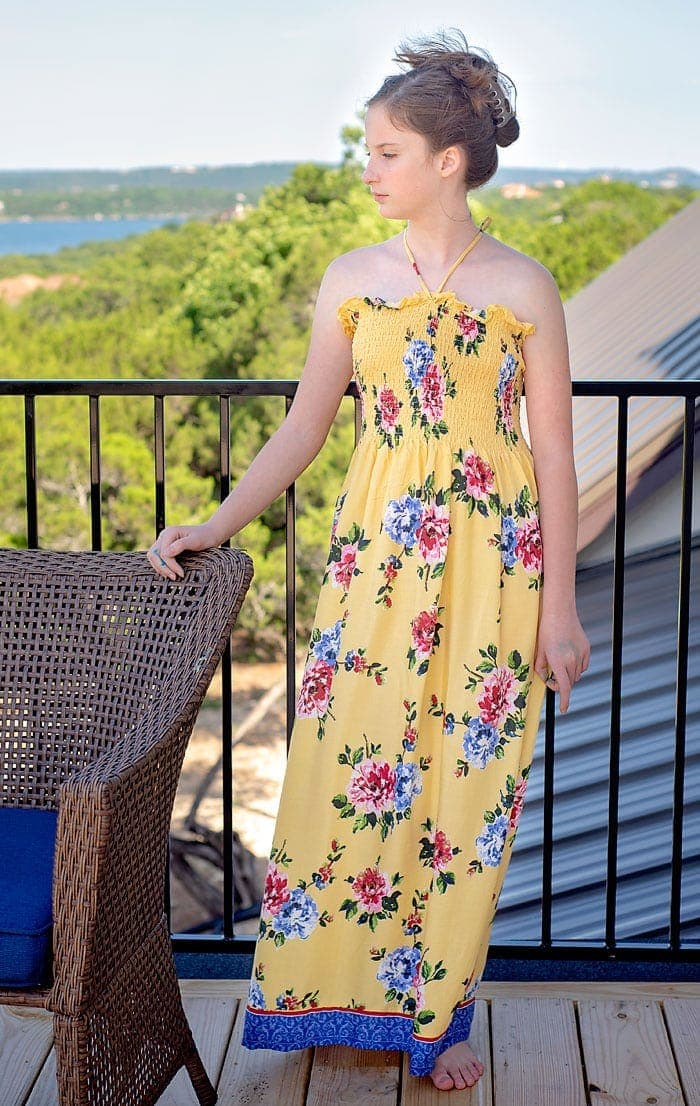 How to make a no pattern sundress with pre shirred fabric