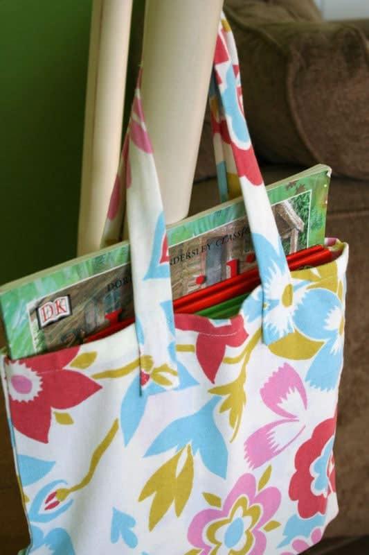 make a book bag using dishtowels