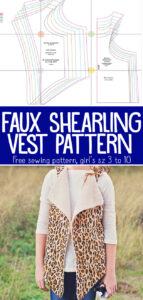 Free Faux Shearling Vest sewing pattern for girls.
