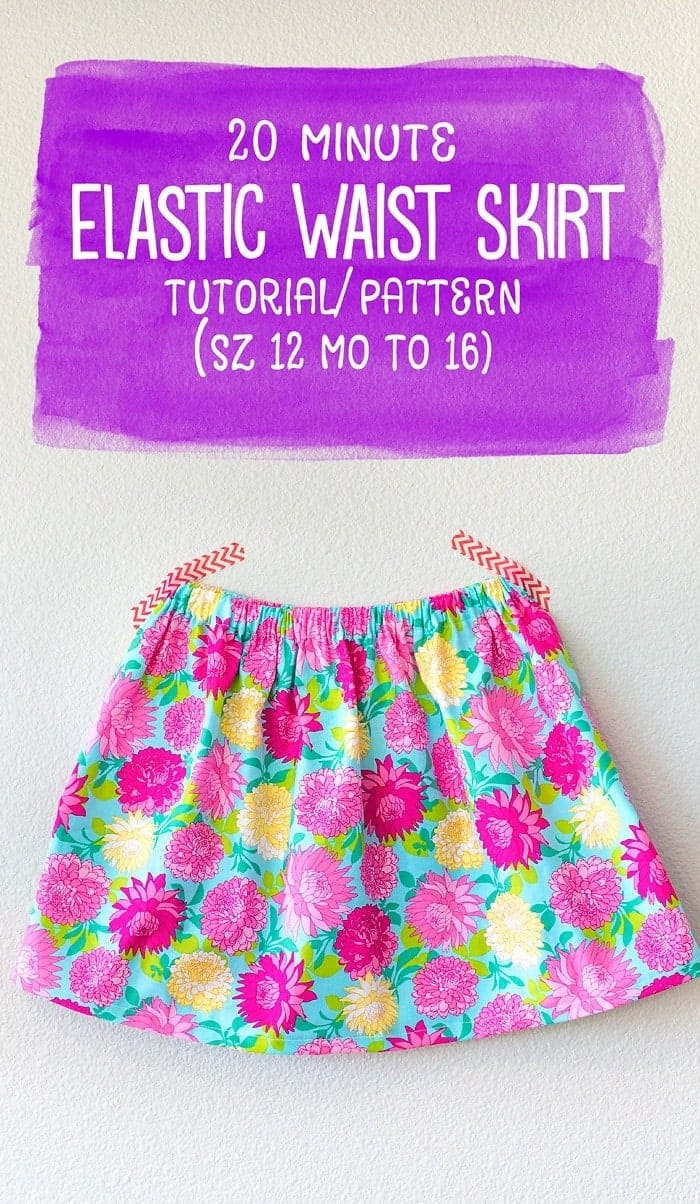 How to Sew an Elastic Waist Skirt (free pattern 12 mo to 16)