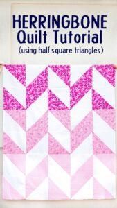 Easy Herringbone Quilt Tutorial with Half Square Triangles