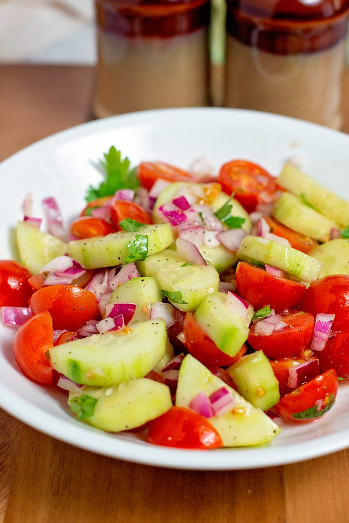 low carb cucumber and tomato salad