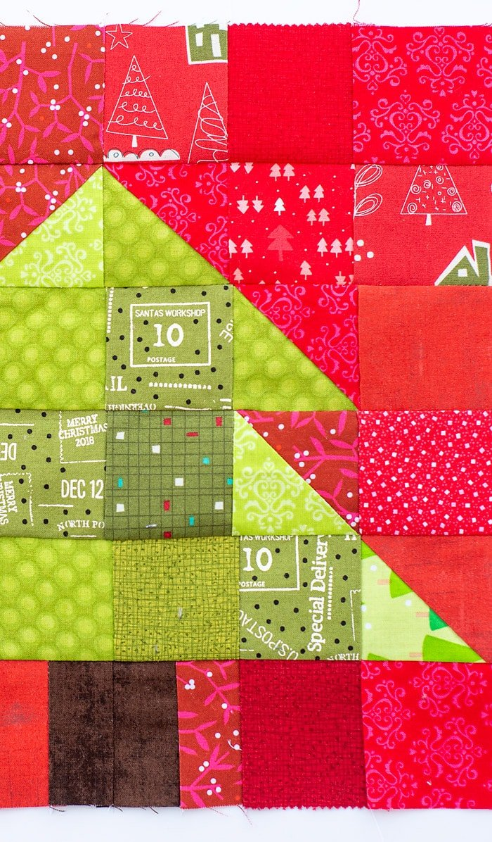 christmas tree quilt block up close