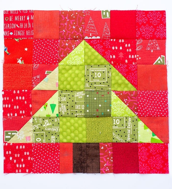 christmas tree quilt block tutorial