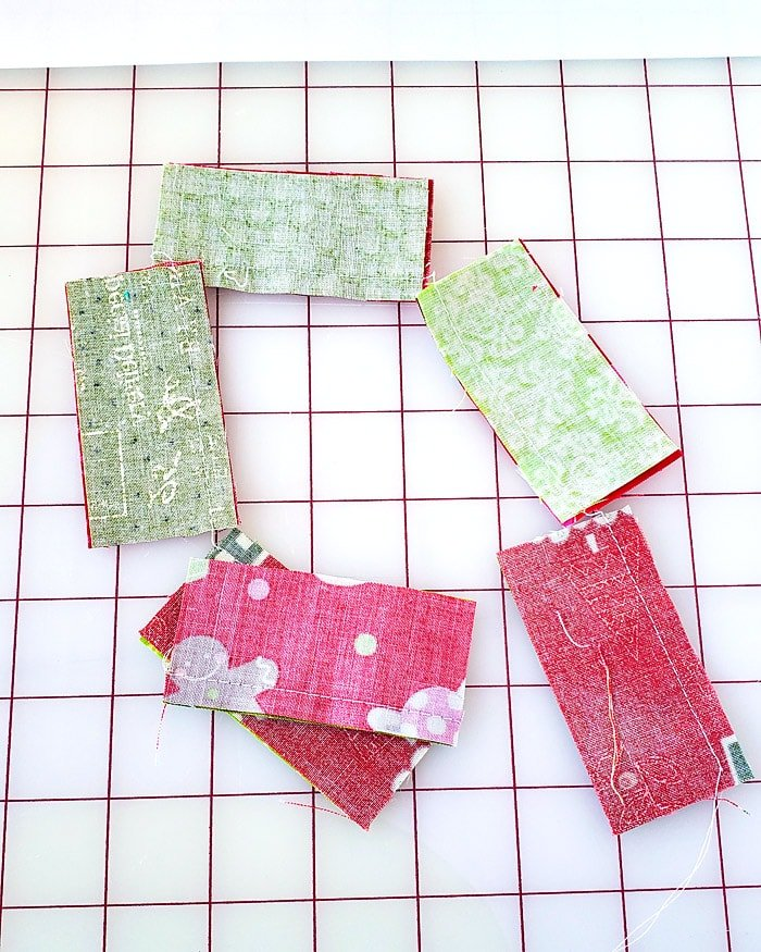 chain stitching the christmas present quilt block