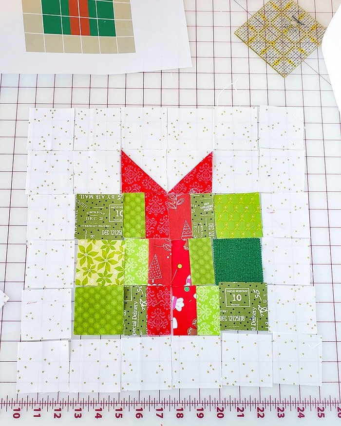 Christmas Gift Quilt Block in process