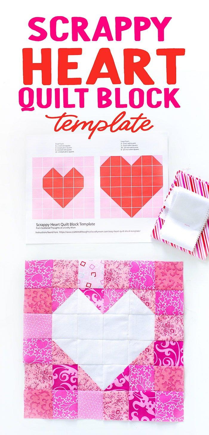 Free Heart Quilt block pattern