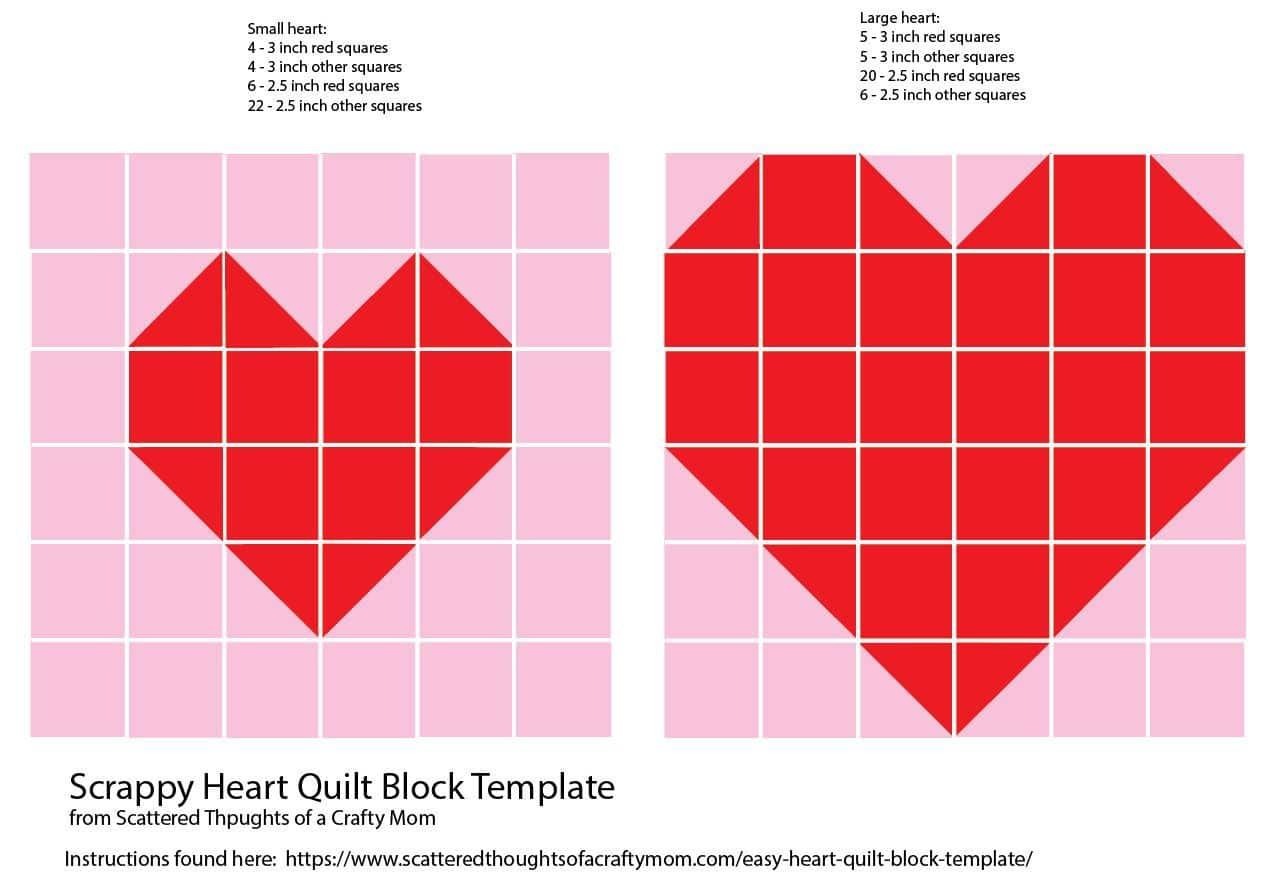 printable heart quilt block pattern