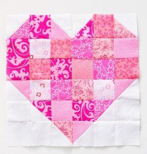 Scrappy Heart Quilt Block Pattern