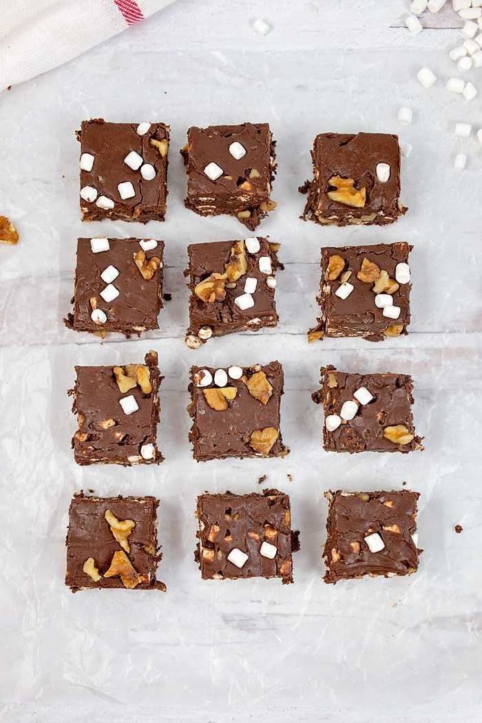 Small squares of rocky road fudge