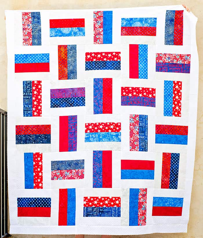 red white and blue basket weave quit