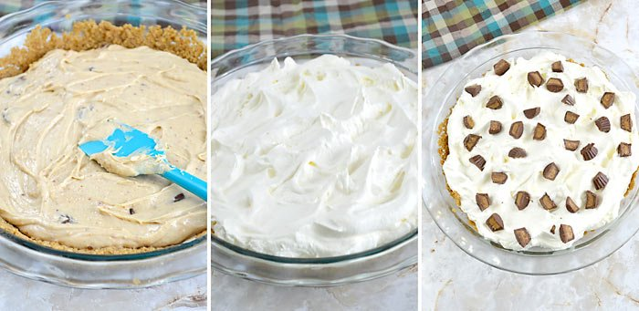 adding peanut butter pie filling to crust