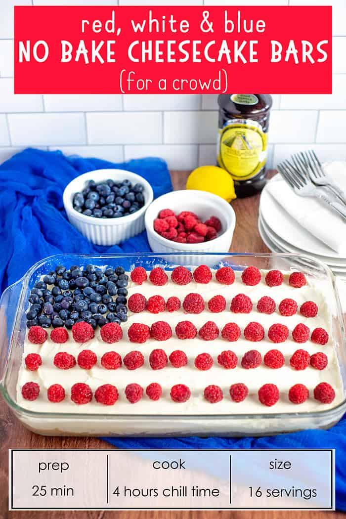 Red white and blue No Bake Cheesecake Bars
