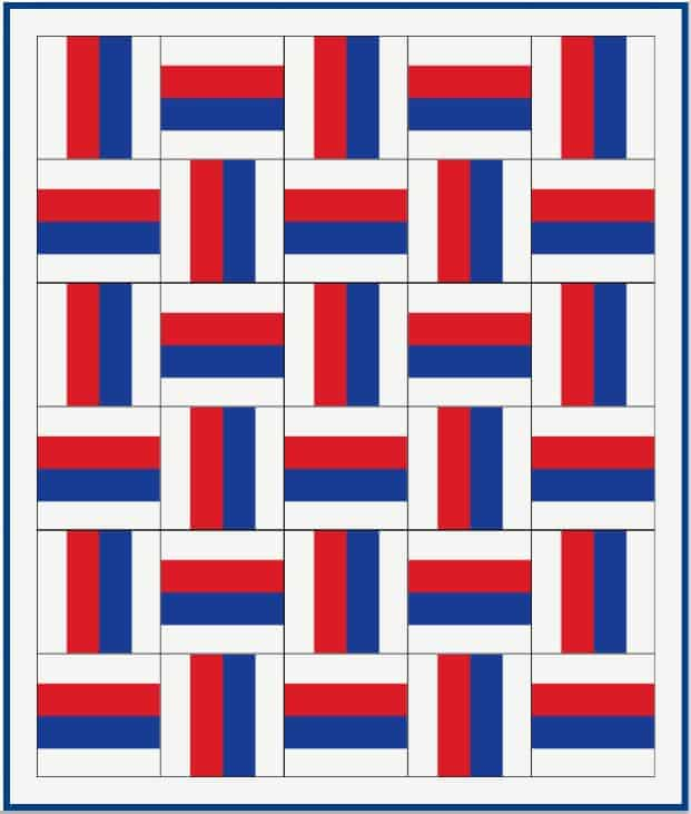 Printable red white and blue quilt pattern