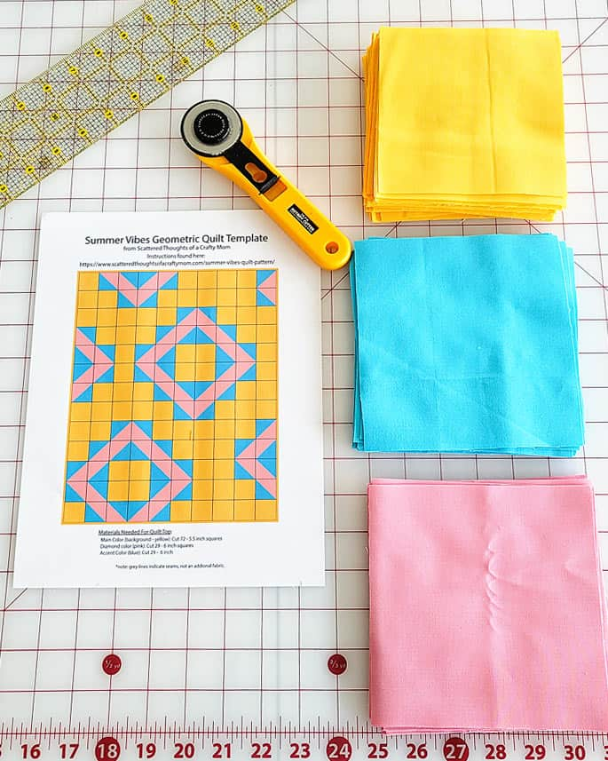 cutting fabric for summer vibes quilt