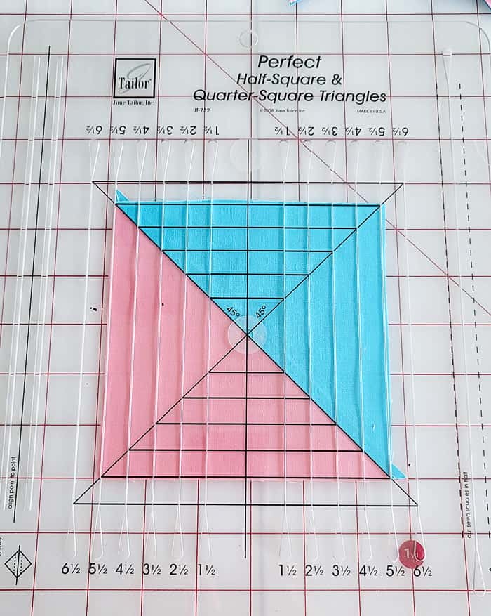 how to square up a half square triangle.