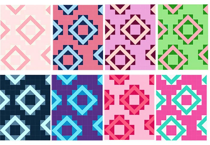color variations in this free geometric quilt pattern