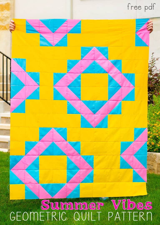Summer Vibes Geometric Quilt Pattern (free pattern)