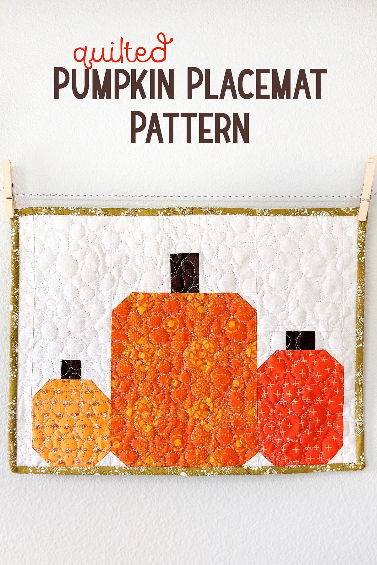 Quilted Pumpkin Placemat Pattern (free pumpkin quilt block)